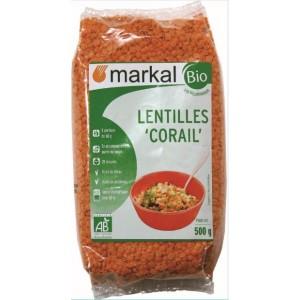 S.LENTILLE ROUGE CORAIL 500G MARKAL BIO