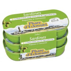 SARDINES* A L HUILE OLIVE BIO  3X55G