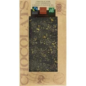 CHOCOLAT NOIR CARAMEL FLEUR DE SEL 100G BIO